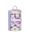 Glazen pot met 24 lavendel geur theelichtjes